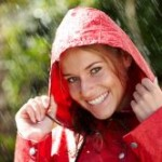 Bild mit Frau im Regen